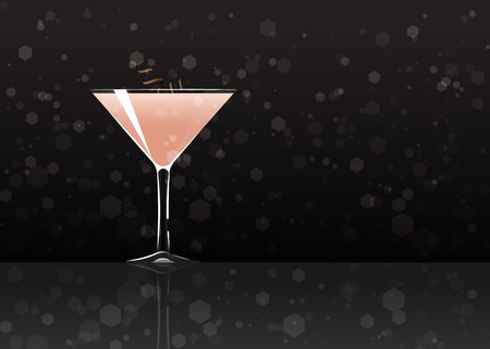 Official cocktail icon, The Unforgettable Alexander cartoon illustration for bar or restoration  alcohol menu in elegant style on mirrored surface.
