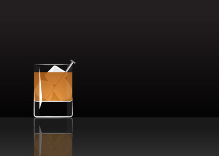 Official cocktail icon, The Unforgettable Rusty Nail cartoon illustration for bar or restoration  alcohol menu in elegant style on mirrored surface. Illustration