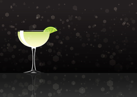 Official cocktail icon, The Unforgettable Daiquiri cartoon illustration for bar or restoration  alcohol menu in elegant style on mirrored surface. Çizim