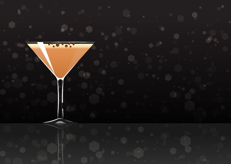 Official cocktail icon, The Unforgettable Porto flip cartoon illustration for bar or restoration  alcohol menu in elegant style on mirrored surface. Çizim