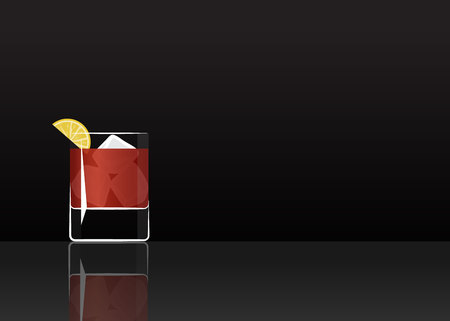 Official cocktail icon, The Unforgettable Sazerac cartoon illustration for bar or restoration alcohol menu in elegant style on mirrored surface.