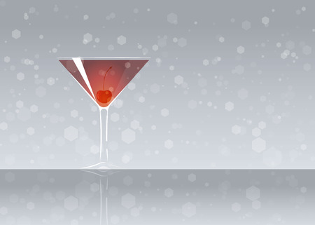 Official cocktail icon, The Unforgettable Manhattan cartoon illustration for bar or restoration alcohol menu in elegant style on mirrored surface.