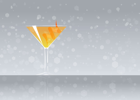 Official cocktail icon, The Unforgettable Angel Face cartoon illustration for bar or restoration  alcohol menu in elegant style on mirrored surface.