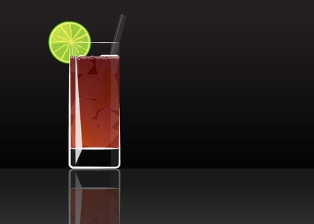 Official cocktail icon, The Unforgettable Americano cartoon illustration for bar or restoration  alcohol menu in elegant style on mirrored surface. Çizim