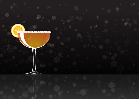 Official cocktail icon, The Unforgettable Sidecar cartoon illustration for bar or restoration  alcohol menu in elegant style on mirrored surface.