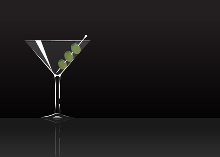 Official cocktail icon, The Unforgettable Dry Martini cartoon illustration for bar or restoration  alcohol menu in elegant style on mirrored surface.