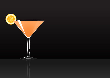 Official cocktail icon, The Unforgettable Monkey Gland cartoon illustration for bar or restoration  alcohol menu in elegant style on mirrored surface. Çizim