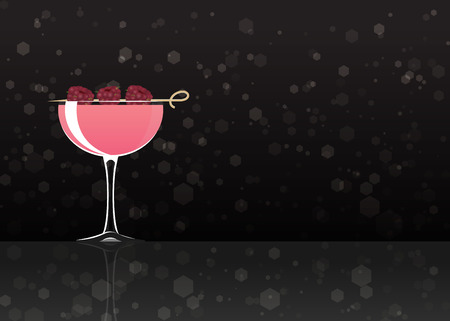 Official cocktail icon, The Unforgettable Clover Club cartoon illustration for bar or restoration  alcohol menu in elegant style on mirrored surface. 矢量图像