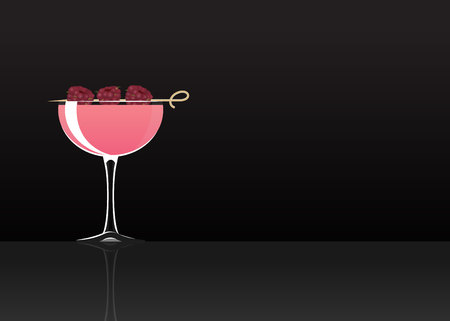 Official cocktail icon, The Unforgettable Clover Club cartoon illustration for bar or restoration  alcohol menu in elegant style on mirrored surface. Illustration