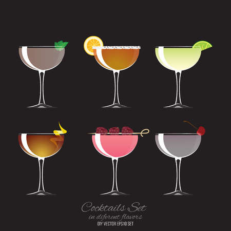 Set of 6 cocktails in coupe glass, vector illustration for bar or drink menu web and print.