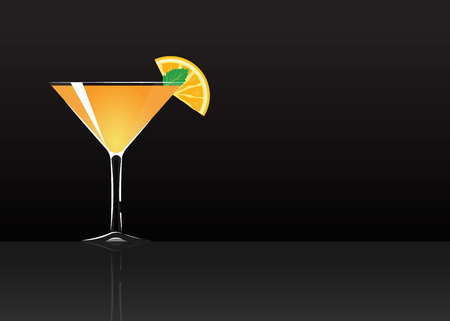 Official cocktail icon, The Unforgettable Paradise cartoon illustration for bar or restoration  alcohol menu in elegant style on mirrored surface.