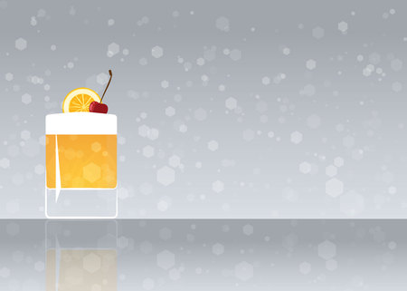 Official cocktail icon, The Unforgettable Whiskey sour cartoon illustration for bar or restoration  alcohol menu in elegant style on mirrored surface.