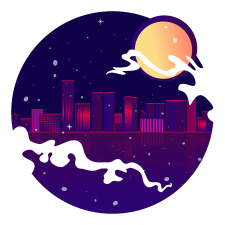 Neon city with moon, stars and ocean, vector illustration for web and print decoration cute cartoon decoration in 80's style.