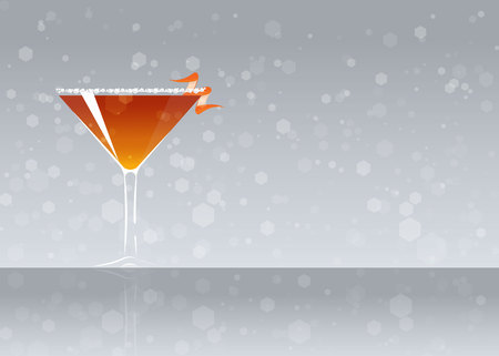 Official cocktail icon, The Unforgettable Derby cartoon illustration for bar or restoration  alcohol menu in elegant style on mirrored surface.
