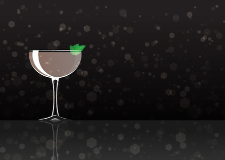 Official cocktail icon, The Unforgettable Stinger cartoon illustration for bar or restoration alcohol menu in elegant style on mirrored surface.