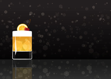Official cocktail icon, The Unforgettable Whiskey sour cartoon illustration for bar or restoration  alcohol menu in elegant style on mirrored surface. Stok Fotoğraf - 120024611
