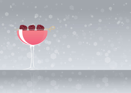 Official cocktail icon, The Unforgettable Clover Club cartoon illustration for bar or restoration alcohol menu in elegant style on mirrored surface.