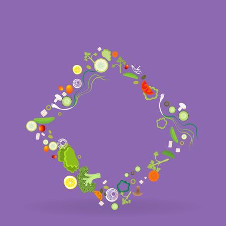 Vegetable rhombus frame for web and print decoration vector illustration on purple violet background