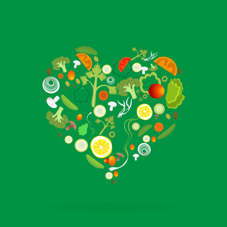 Heart of vegetable pattern for web and print decoration, vector illustration on green background