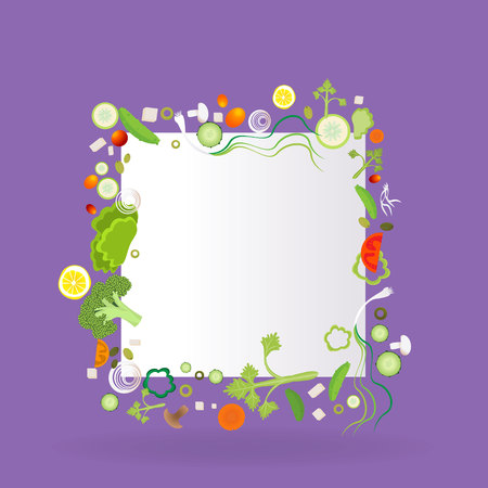 Vegetable square frame  with paper label for web and print decoration vector illustration on violet purple    background