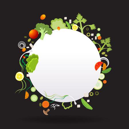 Vegetable circle frame with white paper label  for web and print decoration vector illustration on black background Ilustração