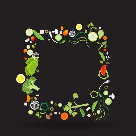 Vegetable square frame for web and print decoration vector illustration on black background