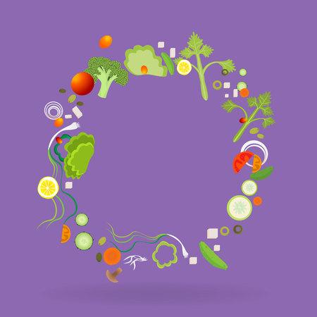 Vegetable pattern circle  frame for web and print decoration vector illustration on purple violet background