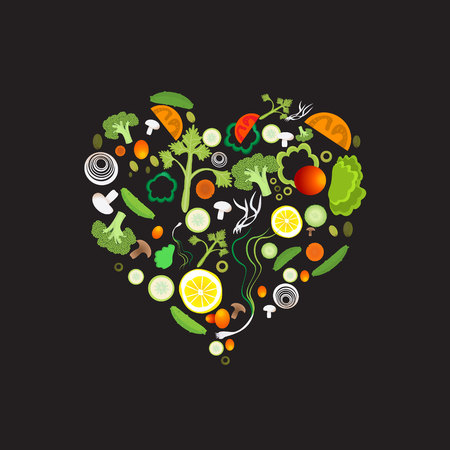 Heart of vegetable pattern for web and print decoration, vector illustration on black  background