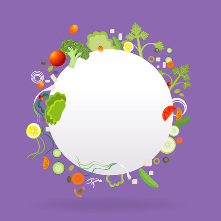 Vegetable circle frame with white paper label  for web and print decoration vector illustration on purple violet background