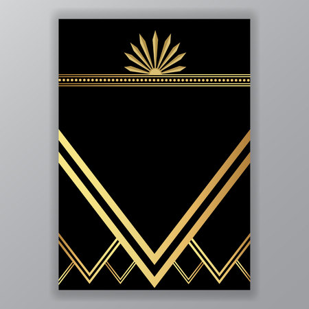 Art deco, Art Novo template  luxury elegant texture geometric style, Gatsby concept, golden black Moroccan ethnic style, oriental vector background Vettoriali