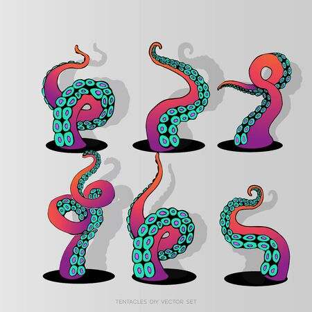 Futuristic DIY set with colorful tentacles of an octopus frame, ocean motive flat cute cartoon illustration for web and print, cute decoration. Vetores