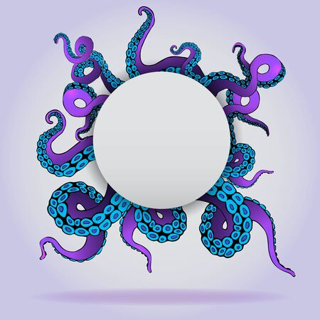 Futuristic page template with colorful tentacles of an octopus frame, ocean motive flat cute cartoon illustration for web and print, cute decoration.