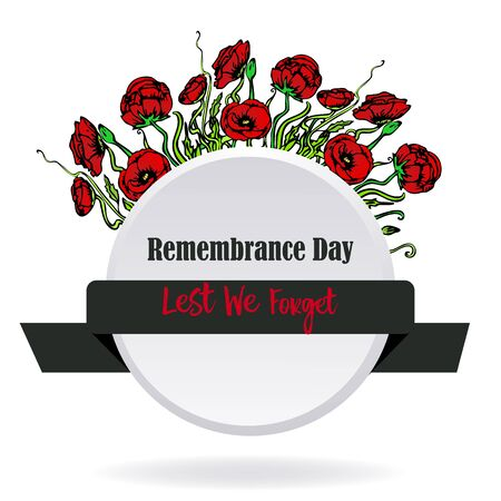 Remembrance day card with red poppies, lest we forget, memorial day template design with hand draw flowers
