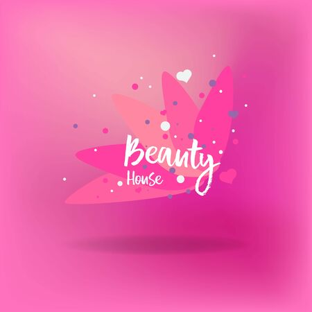 Beauty house for web and print decoration, Spa and hairdresser salon, barber, cosmetologist and beautician abstract emblem for cosmetics