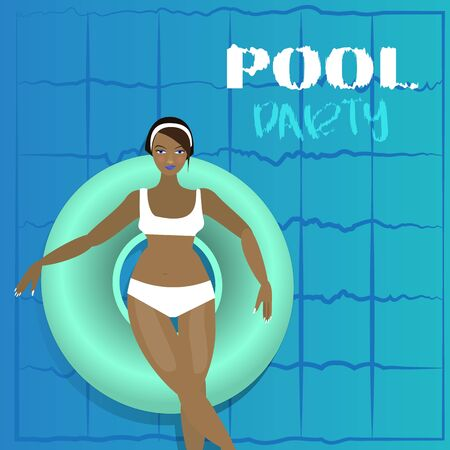 Young woman sunbath on ring in the swimming pool, colorful cartoon illustration, pool party vector concept for web and print.Vacation  invitation card design summer water activities  banner