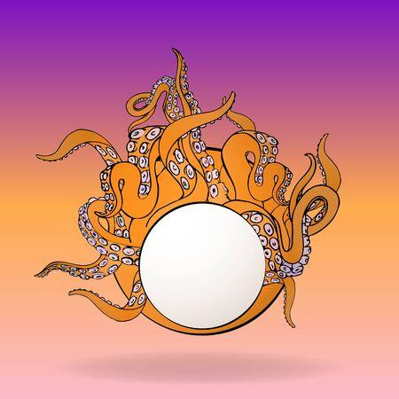 Tentacles circle label ,kawaii cute vector cartoon illustration for web and print. 向量圖像