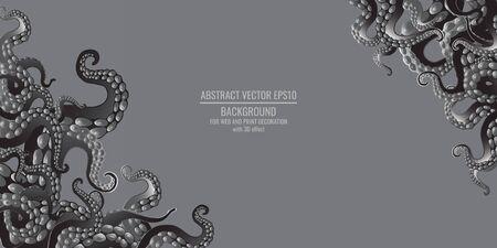 Octopus abstract frame design, creative ocean doodle, cute decoration design, deep wildlife cartoon retro tentacles for web and print Vettoriali
