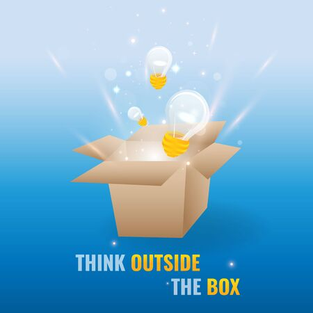 Think outside the box illustration. Box with laps and lights. Creative vector illustration for web and print.
