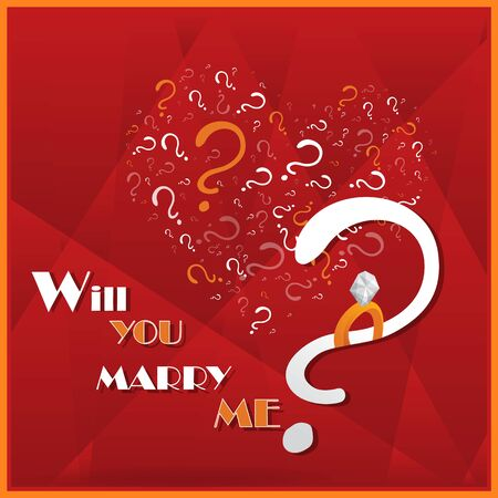 Will you marry me, cartoon drawing card  for web and print. Cute heart of white question signs.