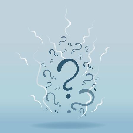 Question signs colorful vector illustration, problem and priority challenge concept. Flat design  background for web and print.  Ask for help, asking questions, FAQ sign. Question mark stamp.
