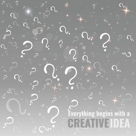 Glowing lamp with question signs , silver white illustration, clean concept for web and print, with bokeh and lights