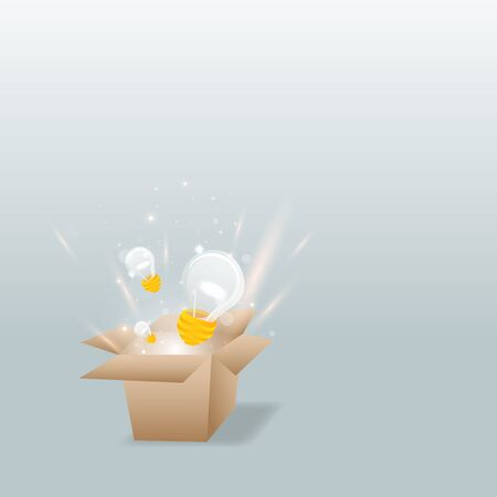 Everything begins with a creative idea poster, cute vector cartoon illustration for web and print. Box with  light bulb and bokeh lights, innovation smart inspiration industry intention Çizim