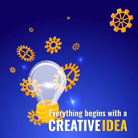 Everything begins with a creative idea poster, cute vector cartoon illustration for web and print. Lamps with gears and lights,  innovation light bulb smart inspiration industry intention