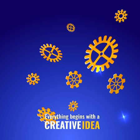 Everything begins with a creative idea poster, cute vector cartoon illustration for web and print.Flying gears  and lights,  innovation smart inspiration industry intention