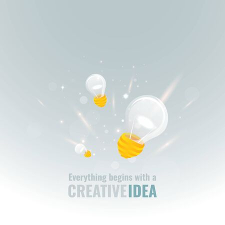 Everything begins with a creative idea poster, cute vector cartoon illustration for web and print. Light bulb and bokeh lights, innovation smart inspiration industry intention Çizim