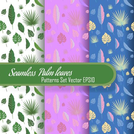 Seamless palm leafs set of patterns, looped fabric  texture for web and print.  Summer time, travel and vacation mood. Çizim