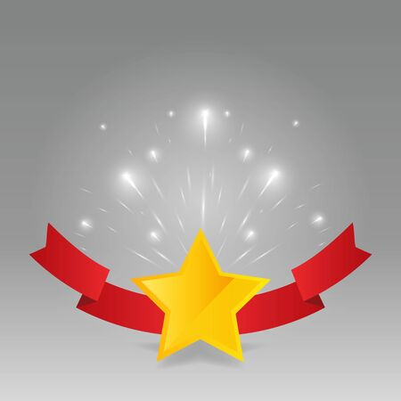 Star golden rating, feedback creative vector illustration with red ribbon winning, for web and print decoration stars on silver background