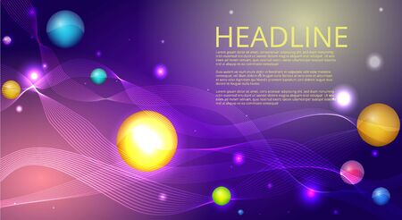 Purple blue wavy simple futuristic shiny background decoration, with primitives, supremacist and open space for text, vector illustration for web and print