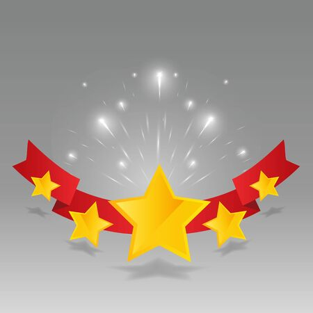 Five star golden rating, feedback creative vector illustration with red ribbon winning, for web and print decoration stars on silver background