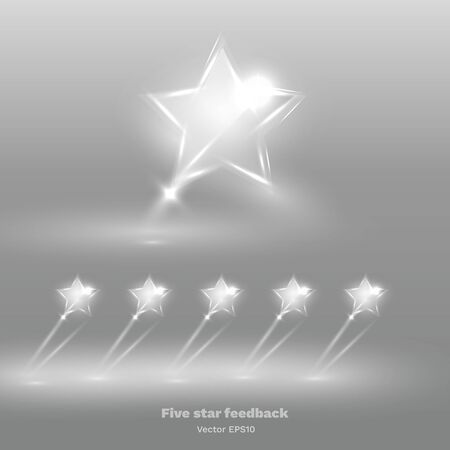 Five star shiny glass rating bright, feedback creative vector illustration winning, magic flat sign for web and print